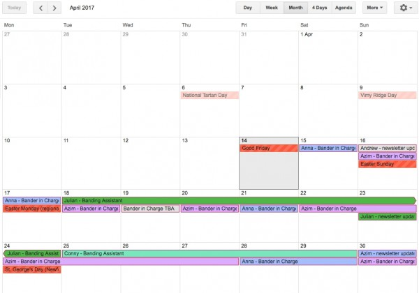 April 2017 Bander schedule