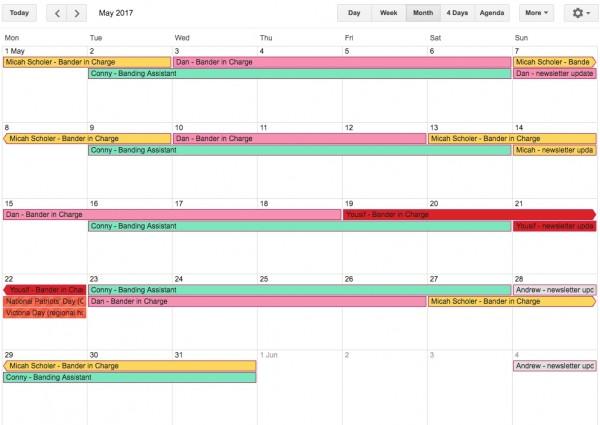 May 2017 Bander schedule